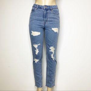 H&M Divided Fringe Hem Destroyed Straight Jeans